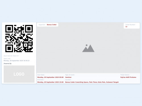 tailwind Event Ticket with QR Code