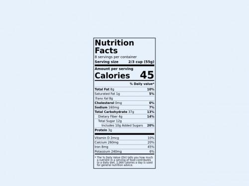 tailwind Food nutrition label