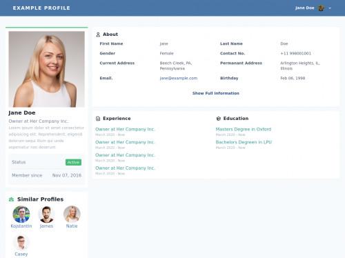 tailwind Profile Page