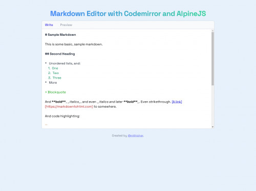 tailwind Markdown Editor with TailwindCSS and AlpineJS