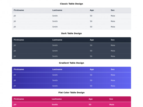tailwind Simple Table Designs With Color Variations