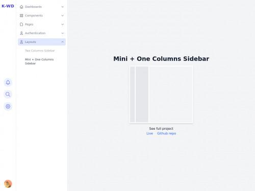 tailwind Responsive Mini + One Columns Sidebar