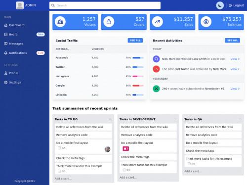 tailwind Admin Dashboard along with dark mode & responsive sidebar