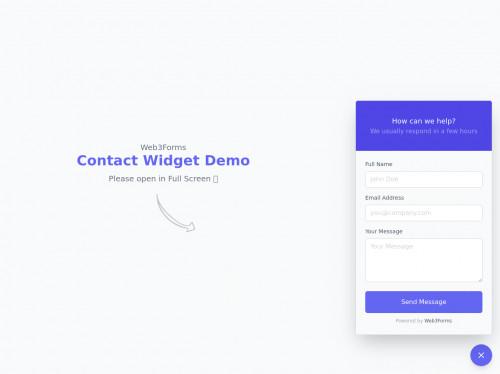 tailwind Contact form Popup Widget