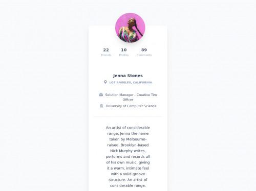 tailwind Card Profile