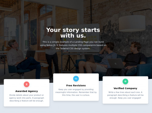tailwind Landing Page Cards