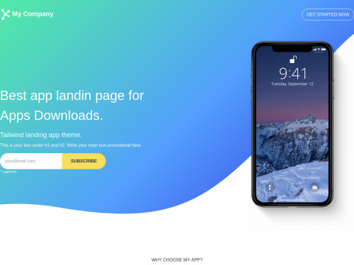tailwind App landing page