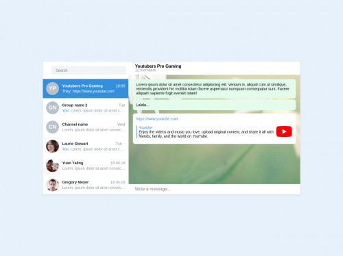 tailwind Telegram Desktop using Tailwindcss