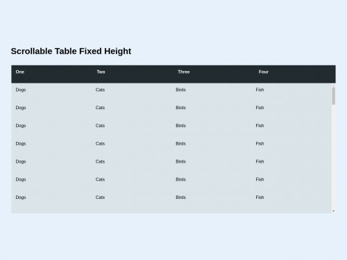 tailwind Fixed Height Scrollable Table