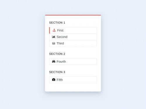 tailwind Card Sidebar Navigation