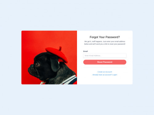 tailwind SB Admin 2: Forgot Password Page