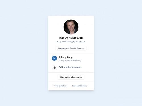 tailwind Google Styled Account Menu